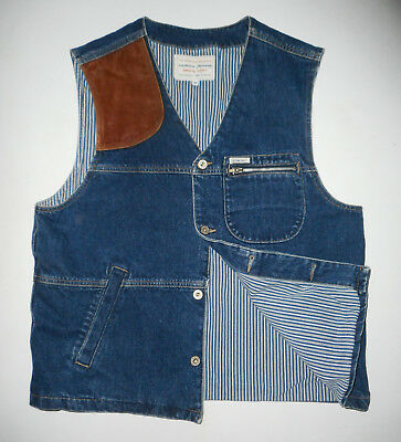 VTG 80s GUESS Jeans DENIM & LEATHER Shooting Vest BLUE Lined Made in USA Mens MD