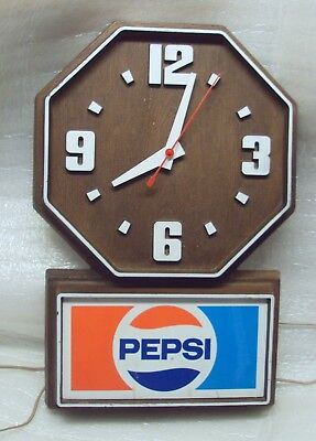 Pepsi Cola Advertising Sign Vintage Plastic Electric Retro Wall Clock Working