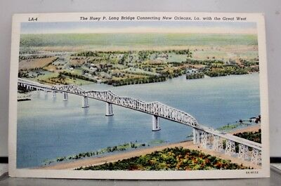 Louisiana LA New Orleans Huey P Long Bridge Great West Postcard Old Vintage Card