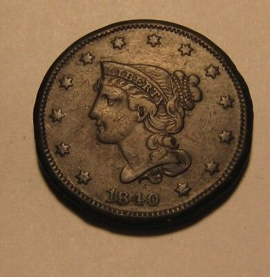 1840 Braided Hair Large Cent Penny - Extra Fine Condition / Dark - 83SU