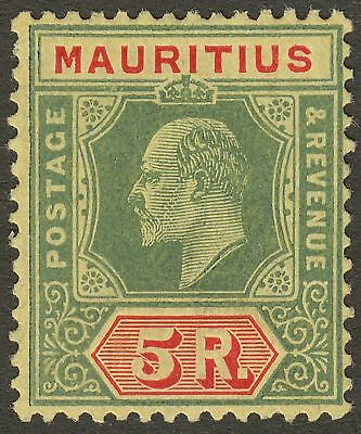 Mauritius 1910 KEVII 5r Green and Red on Yellow Mint SG194 cat £45