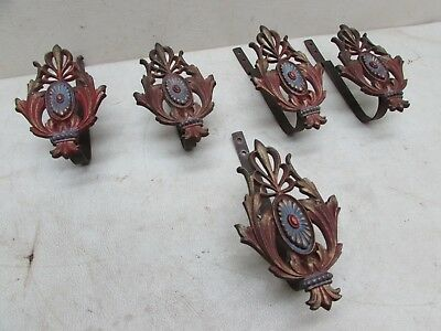 5 Early Ornate Victorian Curtain Rod Bracket Tie Backs Polychrome Paint