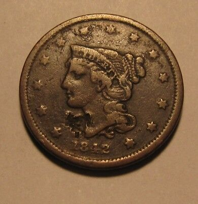 1842 (small) Braided Hair Large Cent Penny - EF Details / Surface Issues - 85SU