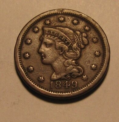 1849 Braided Hair Large Cent Penny - Extra Fine Condition - 90SU