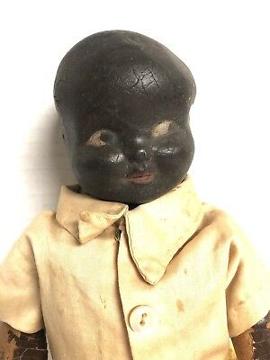 Antique African American Black Doll Composition Doll