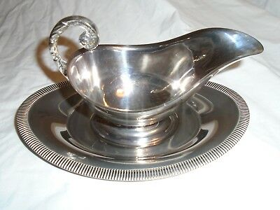 Silver Plated Sauce Boat With Under Plate