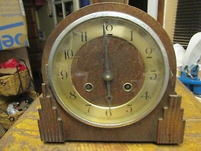 Art Deco Mantle Clock, Wooden Case. 8 Day. Chiming. Non Runner