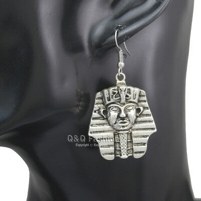 Egyptian Ancient Silver Pharaoh King Tut Mummy Mask Dangle Earrings Costume W5