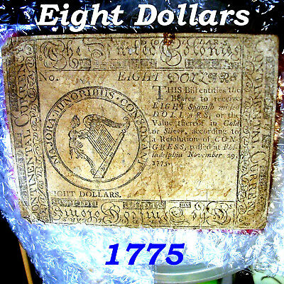 Cc- November 29, 1775 $8 Eight Dollars Continental Currency Note Old Barn Find!