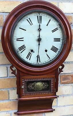 Antique victorian Mahogany Drop Dial Hanging Wall Clock New Haven USA