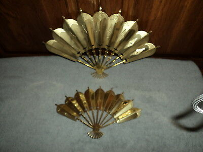 Home Interiors Homco Picture Wall Accent ROMANTIQUE FANS Victorian Brass-Plated
