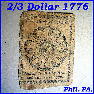 1776 2/3 Two Thirds Of A Dollar Continental Currency Note Old Barn Find!
