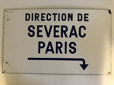 Authentic Old Enameled Metal French Paris Street Direction Sign Severac to Paris