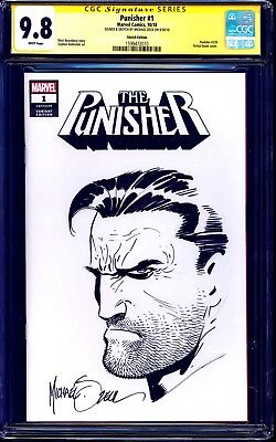 Punisher #1 BLANK CGC SS 9.8 signed ORIGINAL PUNISHER SKETCH by Mike Zeck NM/MT