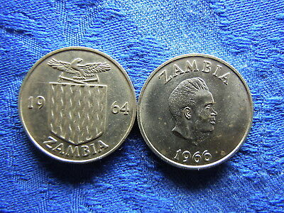 ZAMBIA 1 SHILLING 1964 KM2, 1966 stained KM7