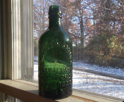 FRANKLIN SPRING MINERAL WATER BALLSTON SPA SARATOGA CO GREEN PINT BOTTLE 1870s