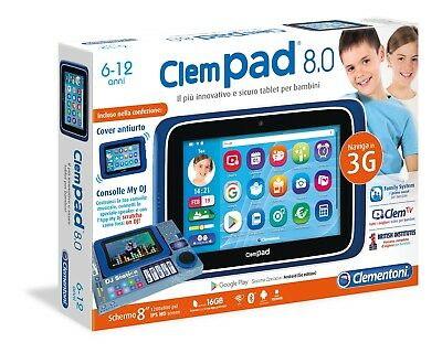 "16611 Clementoni Clempad 8.0 Touch 8"" Touch Hd Wifi Bt Usb Android 6-12 Anni"