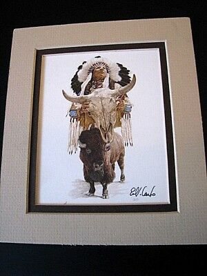 Earl J. Cacho Western Art Print Signed Matted