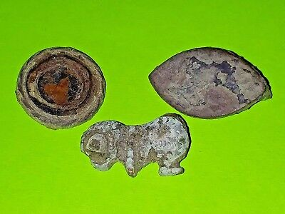 ROMAN BROOCH COLLECTION genuine Ancient zoomorphic disc plate good jewelry lot G