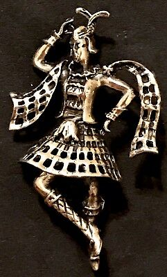 Vintage Sterling Silver Brooch Antique Pin STAMPED Jewelart Scottish Dancer Kilt