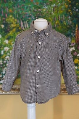 JANIE AND JACK Size 18 24 Months 100% Cotton Brown White Button Down Shirt EUC