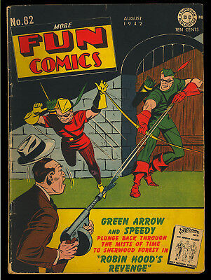 More Fun Comics #82 Nice Early Green Arrow Cover Original Owner DC 1942 VG*