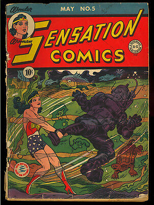 Sensation Comics #5 Original Owner Early Wonder Woman DC 1942 GD-