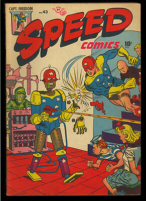 Speed Comics #43 Very Nice Robot Bondage Cover Original Owner 1946 FN-