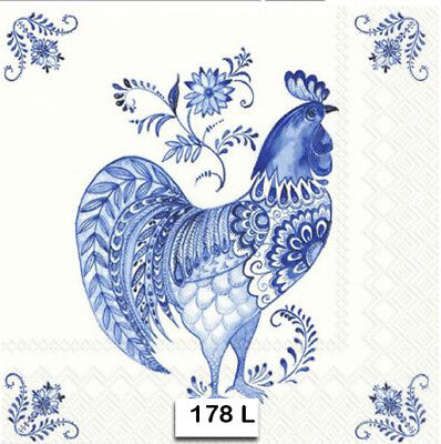 (178) TWO Individual Paper Luncheon Decoupage Napkins - ROOSTER, COBALT, BLUE