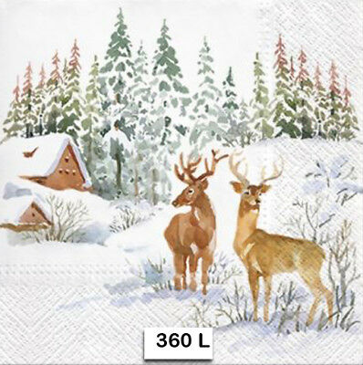(360) TWO Individual Paper Luncheon Decoupage Napkins - DEER, SNOW, WINTER
