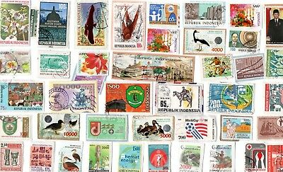 A Lovely Selection Of Kiloware Stamps From Indonesia