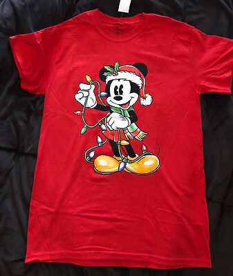 Disney Mickey Mouse Christmas Lights Licensed Adult T Shirt ~ Choose your Size