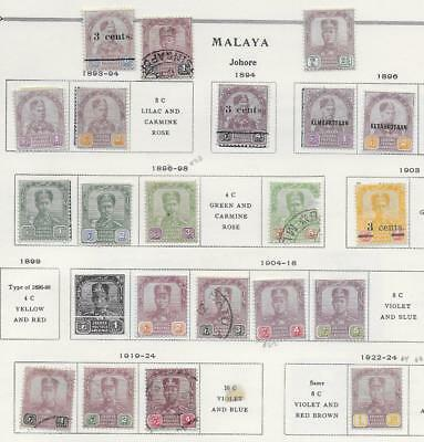 21 Malaya Johore Stamps from Quality Old Antique Album 1893-1924