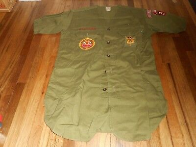 Vintage BOY SCOUT BSA TROOP 96 Jamboree GRUNDY CENTER IOWA UNIFORM PATCHES SHIRT