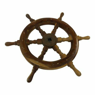 """Vintage 24"""" WOOD SHIP WHEEL wall art captain steering boat nautical decor carved"""