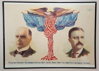 Rare William Mckinley & Theodore Roosevelt Campaign Poster Version #2