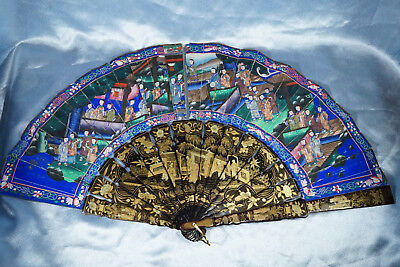 Antique Chinese  1000 Faces Lacquered  Fan