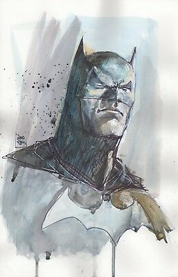 "BATMAN ORIGINAL ART BY Rod Reis 9"" X 12"" Signed"