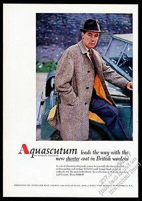 1958 Land Rover color photo Aquascutum tweed coat vintage print ad