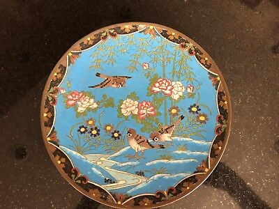 Chinese Cloisonne Charger Rare Design 1880s with Stand