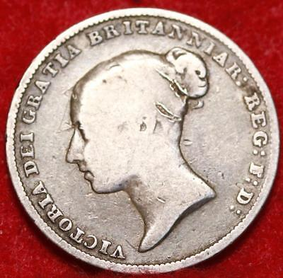1844 Great Britain 6 Pence Silver Foreign Coin
