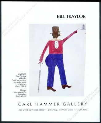 1988 Bill Traylor man art Chicago gallery show vintage print ad