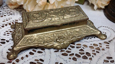 Vintage BRASS Art Nouveau Postage Stamp Holder Box Hinged Bank 3 Sections