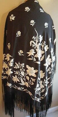 Antique Hand Embroidered Silk Black White Shawl 70 by 70 Hand Knotted Fringe