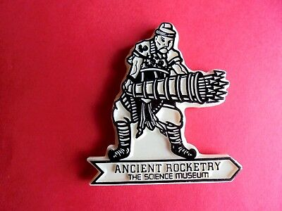 Vintage Ancient Rocketry Science Museum London Plastic Souvenir Badge Pin