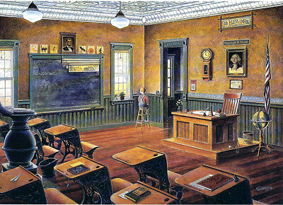 One Room Country School Classroom Teacher Bell Globe Desk SIGNED Matted Souders