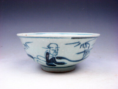 Antique MING Blue&White Ancient Figs Bamboo Hand Painted Large Bowl #08251807
