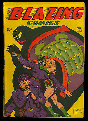 Blazing Comics #4 Nice Golden Age WWII Green Turtle Comic 1945 VG+