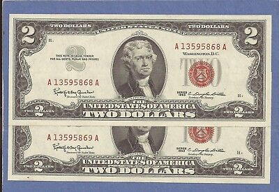 1963 $2 United States Note,(2) Sequential Red Seal Notes,Choice Crisp UNC,Nice!