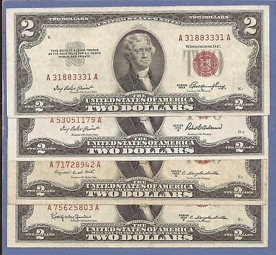 1953,A,B,C $2 United States Notes (USN),Four(4) Notes,Red Seal,Very Fine,Nice!